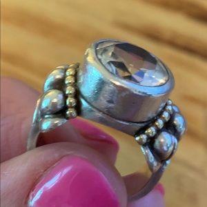 Lagos Caviar White Topaz Ring